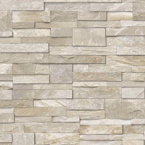 3D Slate Stone Brick Effect Wallpaper Washable Vinyl Sand & Stone A17203