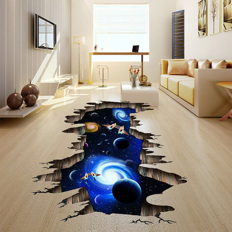 3D Space Galaxy Planets Decals Floor Ceiling Wall Stickers Mural Vinvy Decal