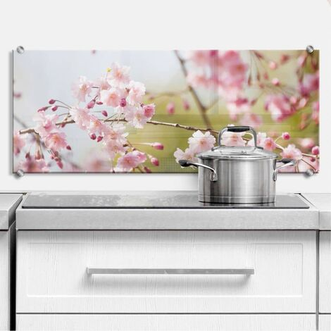 3D Spritzschutz Kirschblüten Glasbild Küchenrückwand