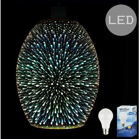 3D Starburst Glass Ceiling Pendant Light Shade + 10W LED GLS Bulb - Gold
