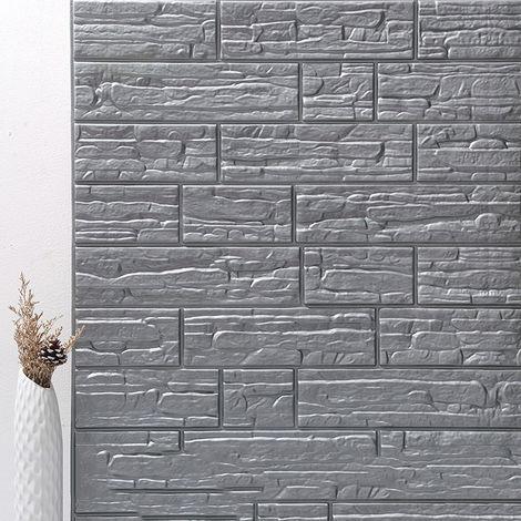 3D sticker mural autocollant brique décoration murale -en mousse -70 x 77 cm 5pcs gris argent