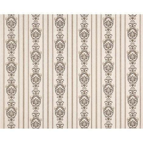 3D striped baroque paste the wall wallpaper XXL EDEM 660-93 textured nonwoven elegant baroque pattern fabric look off-white beige brown 10.65 m2