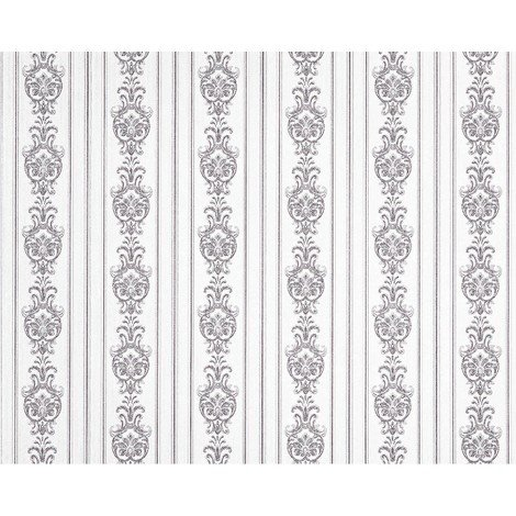 3D striped baroque paste the wall wallpaper XXL EDEM 660-96 textured nonwoven elegant baroque pattern fabric look white grey 10.65 m2
