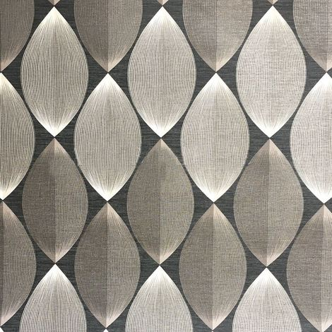 3D Symmetry Retro Wallpaper Lantern Lines Modern Black Grey Silver AS Creation