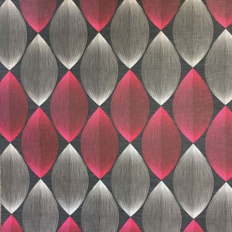 3D Symmetry Retro Wallpaper Lantern Lines Modern Black Red Grey AS Creation