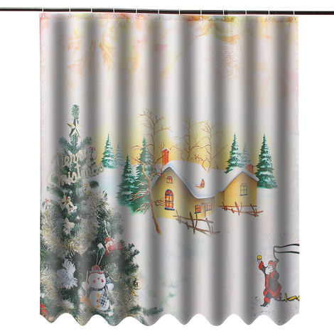 3D Theme Christmas Waterproof Shower Curtain Polyester With 12 Hook For Home Hasaki