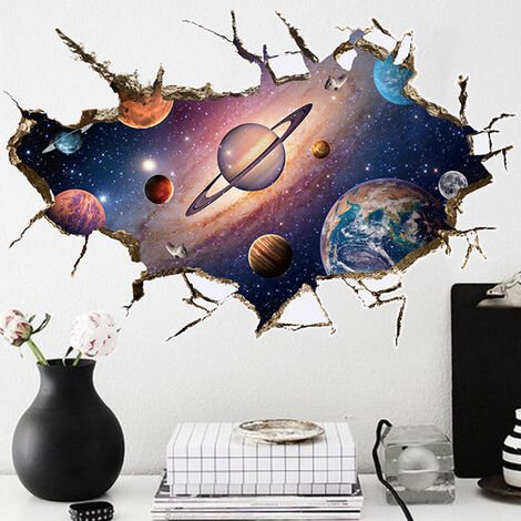 3D Universe Space Galaxy Planets Decals Wall Stickers Wall Mural Photo Wallpaper