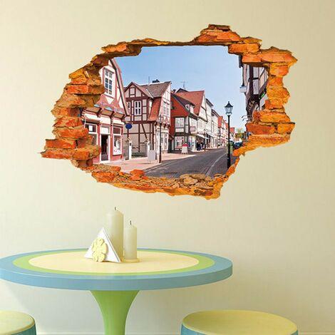 3D View Wall Decal Sticker Ciudad Extraíble Arte Decoración Dormitorio Hogar
