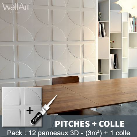 3D Wall Panel Pitches 3D Wall Panels 3m² + Glue WallArt