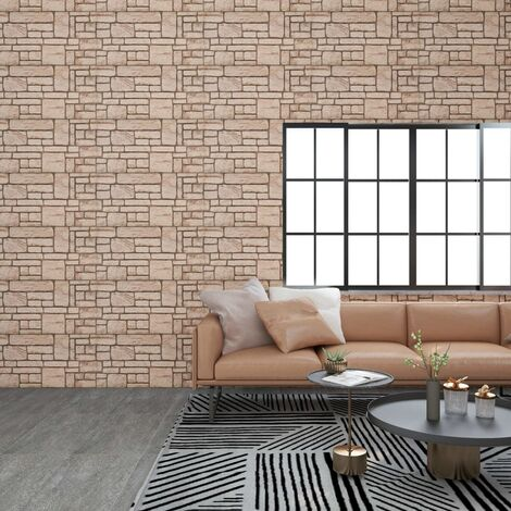 3D Wall Panels with Beige Brick Design 11 pcs EPS