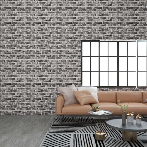 3D Wall Panels with Dark Grey Brick Design 11 pcs EPS