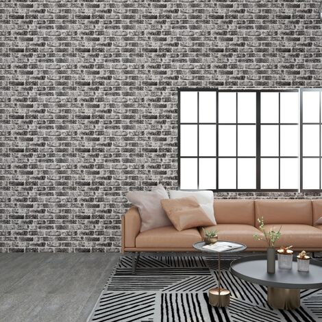 3D Wall Panels with Dark Grey Brick Design 11 pcs EPS - Grey