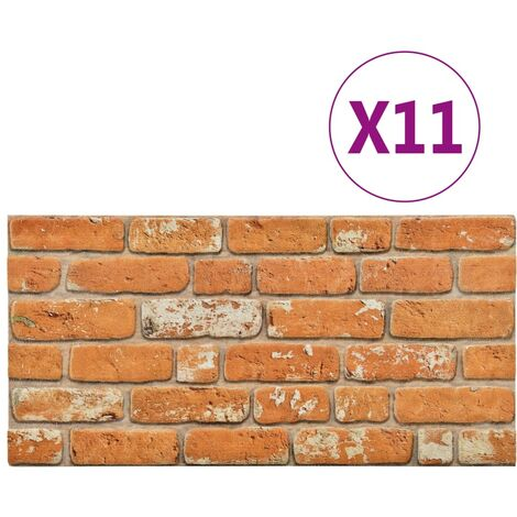 3D Wall Panels with Light Brown Brick Design 11 pcs EPS