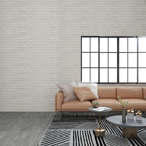 3D Wall Panels with White Brick Design 11 pcs EPS - White