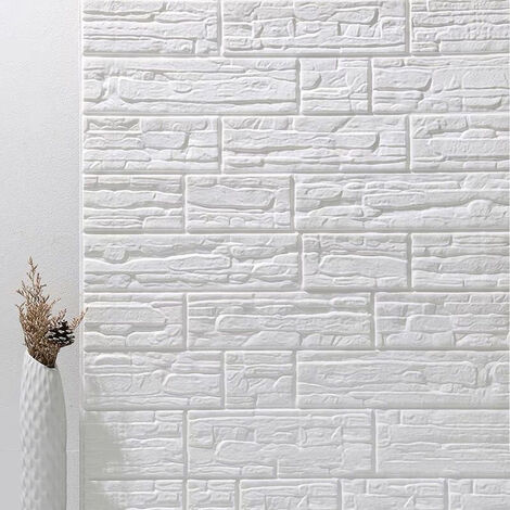 3D Wall Sticker 5PCS 70*77cm White Self-adhesive DIY Panels Wallpaper