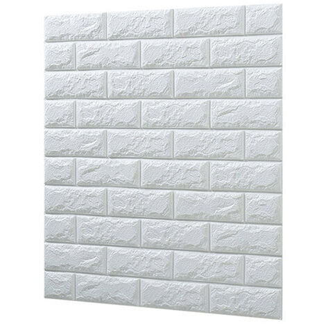 3D Wallpaper DIY Wall Stickers Foam Embossed Brick Stone Wallpaper white Pack of 10
