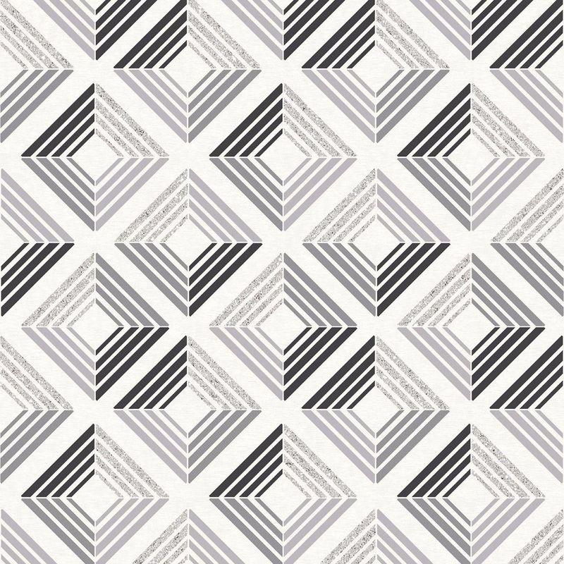 Image of 3D Effect Diamond Geometric Glitter Wallpaper Retro Squares Charcoal - Coloroll
