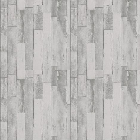 3D Wood Effect Cladding Wallpaper Grey Distressed Plank Board Paste The Wall P+S