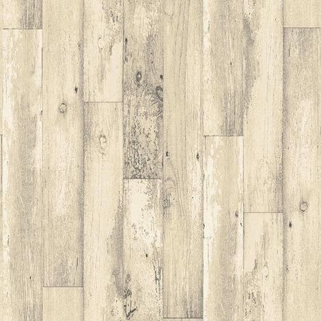 3D Wood Panel Plank Effect Wallpaper Rustic Distressed Cream Paste Wall Galerie