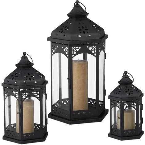 3er Laternen Set, Deko Laternen für draußen & drinnen, 3 Größen, vintage, Retro Windlicht für Kerzen, schwarz