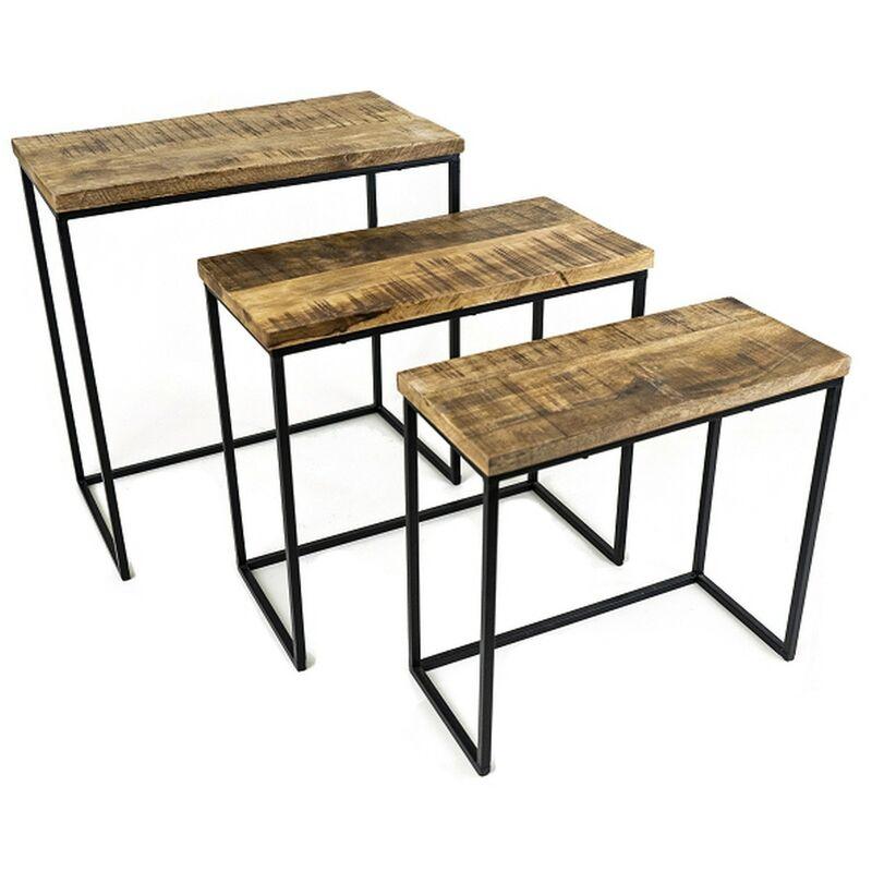 3er Set Beistelltische 50332 Mango-Holz Metall Rechteckig Couchtisch - NOOR HANDELS