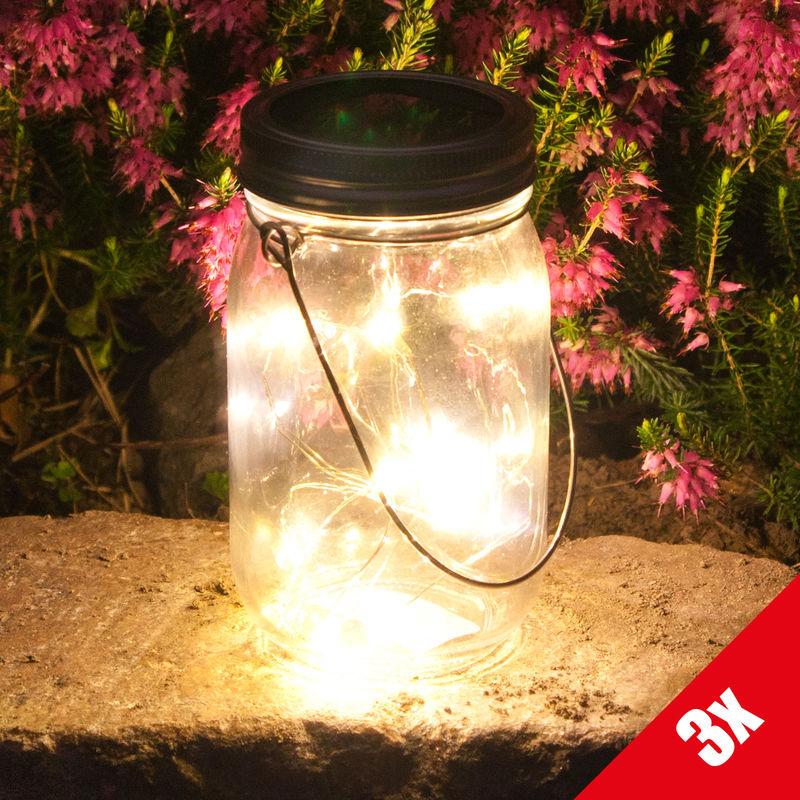 Dekorative Solarleuchte Solarbetriebene Lampe im Glas 3er Set Solarlampen