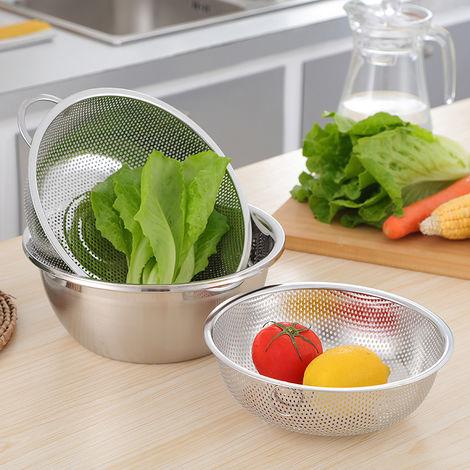 3er set Küchensieb Maschensieb mit Griff für Küche,Nudel,Gemüse,Obst/Reis Edelstahl