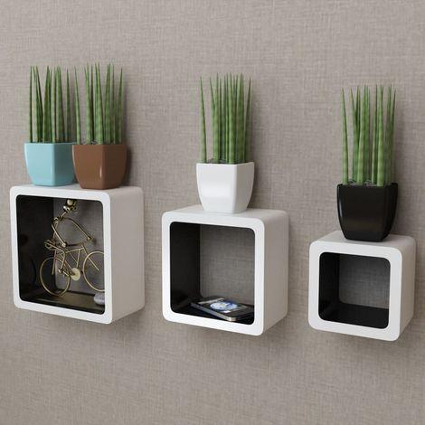 3er Set MDF Cube Regal Hängeregal für Bücher/DVD, weiß-schwarz VD09100