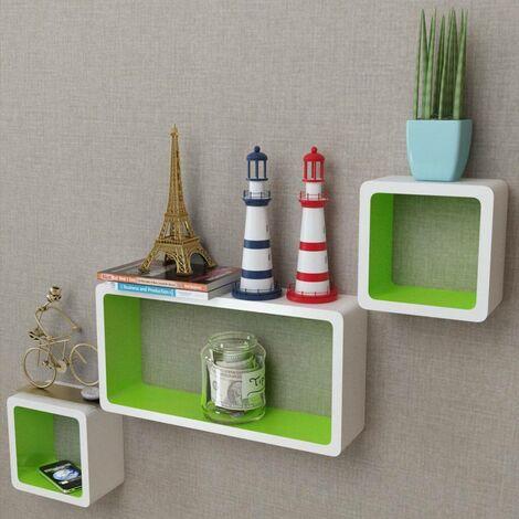 3er Set MDF Cube Regal Hängeregal Wandregal für Bücher/DVD, weiß-grün 09097