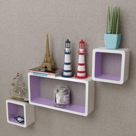 3er Set MDF Cube Regal Hängeregal Wandregal für Bücher/DVD, weiß-lila