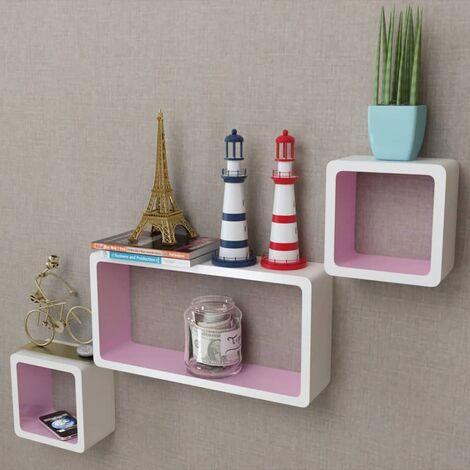 3er Set MDF Cube Regal Hängeregal Wandregal für Bücher/DVD, weiß-rosa