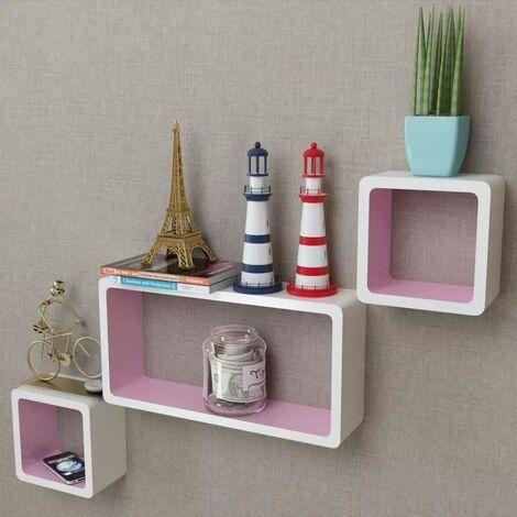 3er Set MDF Cube Regal Hängeregal Wandregal für Bücher/DVD, weiß-rosa VD09099