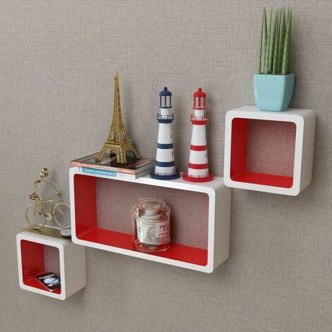 3er Set MDF Cube Regal Hängeregal Wandregal für Bücher/DVD, weiß-rot