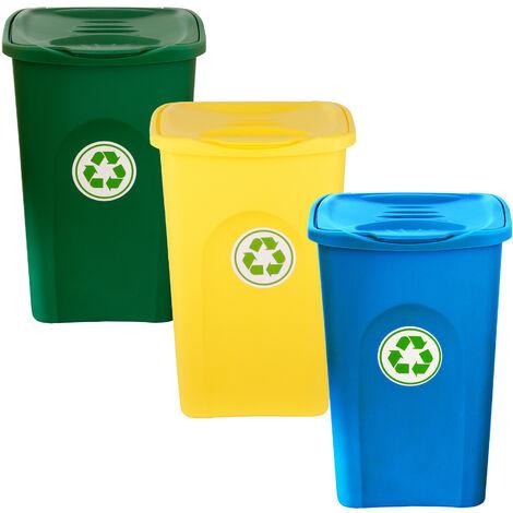 3er Set Mülleimer 50L groß - 3-fach Mülltrennsystem für Mülltrennung & Recycling - 3 Farben (blau, grün, gelb) - mit Klappdeckel - Mülltonne Müllsortierer Abfalleimer