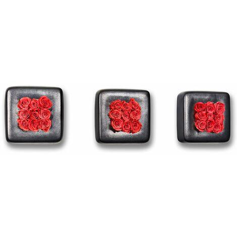 3er-Set Rosen in Keramik Infinity-Bloom Chest - anthrazit/hellrot - 16x16 cm