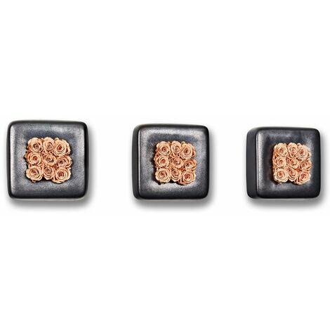 3er-Set Rosen in Keramik Infinity-Bloom Chest - anthrazit/rosé - 16x16 cm