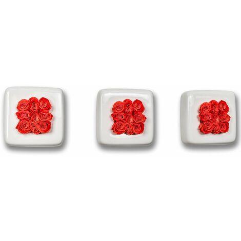 3er-Set Rosen in Keramik Infinity-Bloom Chest - weiß/hellrot - 16x16 cm
