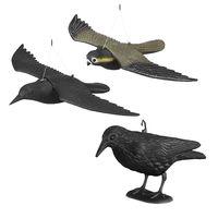 3er Set Taubenschreck, Vogelschreck Krähe u Falke, Dekofigur als Vogelscheuche, Taubenabwehr, lebensgroße Vogelattrappen