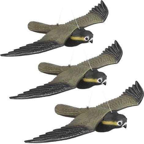 3er Set Vogelschreck Falke, fliegender Greifvogel als Vogelscheuche, Raubvogel Attrappe, Vogel lebensgroß, mehrfarbig