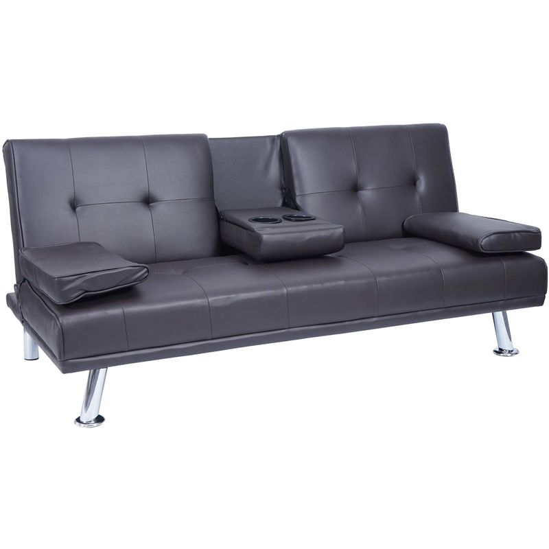 3er-Sofa 179, Couch Schlafsofa Gästebett, Tassenhalter verstellbar 97x166cm ~ Kunstleder, braun - HHG