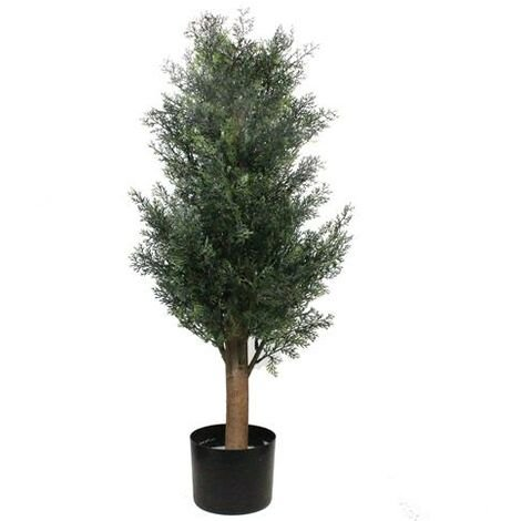 3ft Pine Cypress Green Artificial Tree Solid Wood PE Leaf