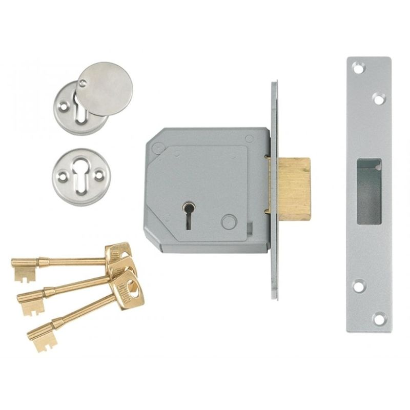 """DEADLOCK DEAD LOCK 63mm 5 LEVER WITH ESCUTCHEONS POLISHED CHROME 2.5/"""" NEW"""