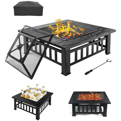 3in1 Fire Pit Outdoor Brazier Heating Fireplace 81 * 81 * 47cm