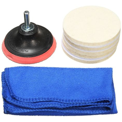 3inch Windshield Glass Polishing Pad + M10 Drill Adapter Scrach Remover Hasaki