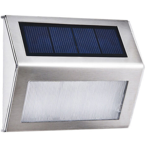 3L-ED Stainless Steel Solar Garden Light for Outdoor Stairs Paths Patio L-ED Solar Street Light (Warm white)