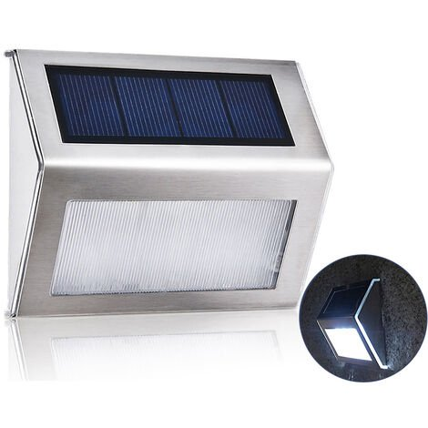 3L-ED Stainless Steel Solar Garden Light for Outdoor Stairs Paths Patio L-ED Solar Street Light (white)