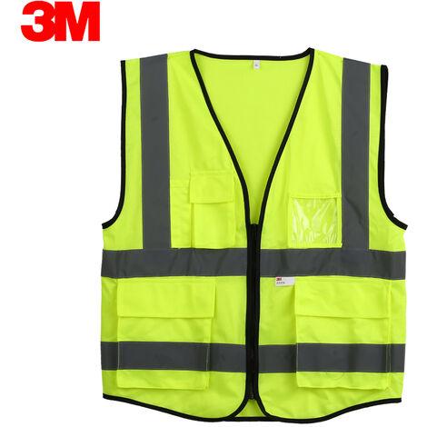 3M 10907 de alta visibilidad chaleco reflectante de seguridad ropa de trabajo Chaleco de seguridad con bolsillos de cremallera, XXL, naranja fluorescente