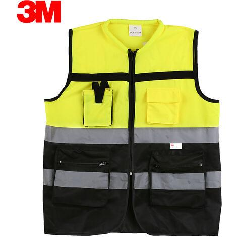 3M 10912 de alta visibilidad chaleco reflectante de seguridad ropa de trabajo Chaleco de seguridad con bolsillos de cremallera, XXL