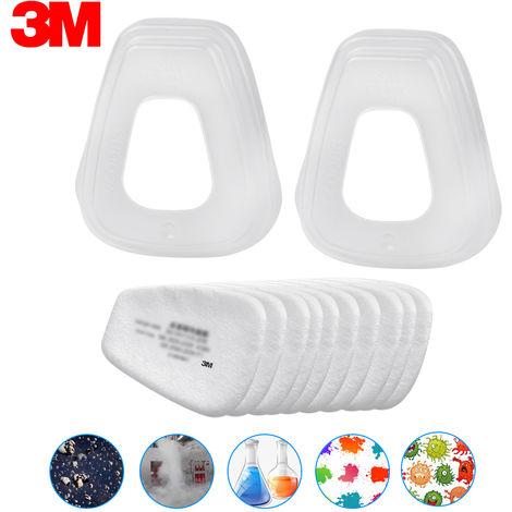 3M 5N11 10Pcs Filter Cotton & 2Pcs 501 Couvercle De Filtre N95 Filtre A Particules Pour Gaz Masque Respiratoire Utiliser Avec 6000 Series Cartouches Filtrantes