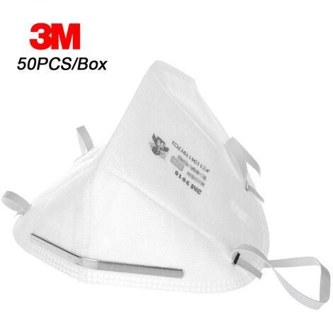 3M 9010 N95 Respirateur De Protection Masques Anti-Poussieres Masque De Securite Tete Montes Pm2,5 Smog Antipoussiere, 50Pcs